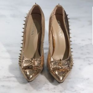 Gold Studded Heels with Bow, Sparkly Gold Heels